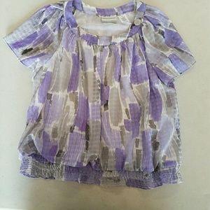 Woman's Blouse Purple Short Sleeves